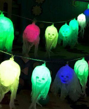 Garland Battery powered Halloween LED Skull Strip string lights DIY Garden Yard Strings Home Decor Led lamp Halloween Decorative