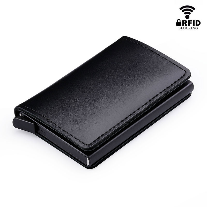 Anti RFID 100% Genuine Leather Mini Wallet flat black