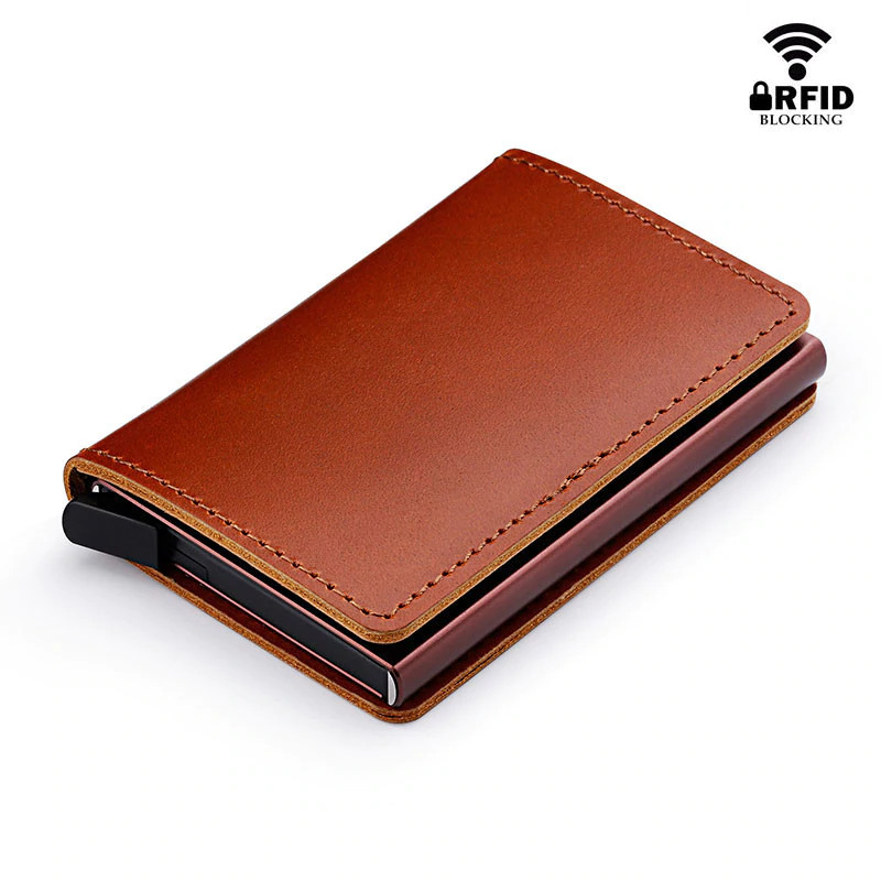 Anti RFID 100% Genuine Leather Mini Wallet flat brown