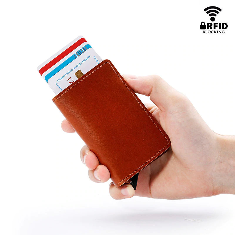 Anti RFID 100% Genuine Leather Mini Wallet display