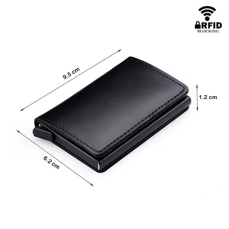 Anti RFID 100% Genuine Leather Mini Wallet measurements