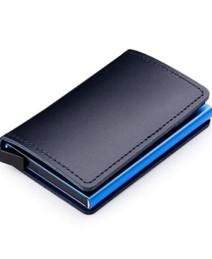 Anti RFID 100% Genuine Leather Mini Wallet blue