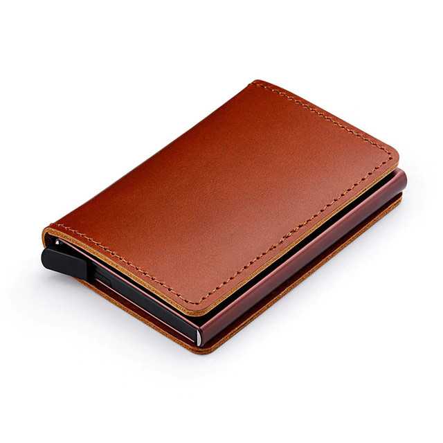 Anti RFID 100% Genuine Leather Mini Wallet brown